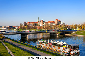 Krakow Panorama with Wawel Castle in Fall