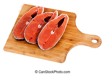 humpback salmon board - Fresh pieces of fish humpback salmon...
