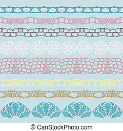 Set of beautiful lace vector trims - Can be used for use...