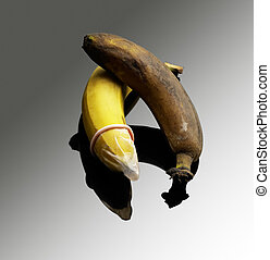 condom - safe sex message,good banana with condom,rotten...