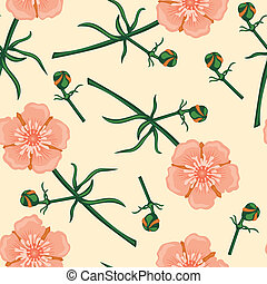 Pink flower seamless pattern - Seamless pattern with...