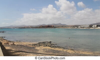 waves chrushing on Canary Island Fuerteventura.