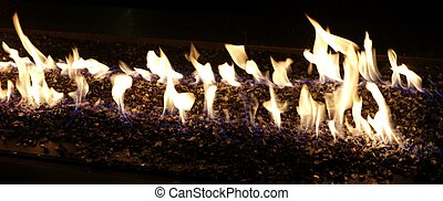 Flames in a gas fireplace