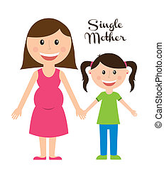 single mother over white background vector illustration