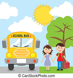 back to school bus - back to school design over sky...