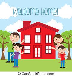 welcome home  over landscape  background vector illustration