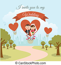 wedding design over landscape background vector illustration