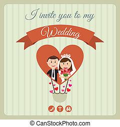 wedding design over lineal background vector illustration