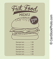 fast food design over beige background vector illustration
