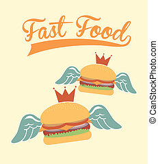 fast food design over pink background vector illustration