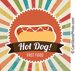 hot dog design over grunge background vector illustration