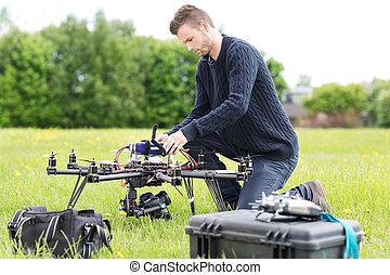 エンジニア, 無人機, 公園, 準備, 監視