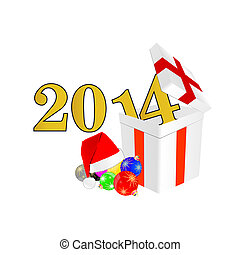 new 2014 year with christmas ball and suprise vector...