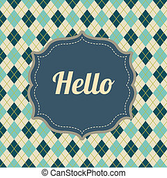 hello label over diamonds  background vector illustration