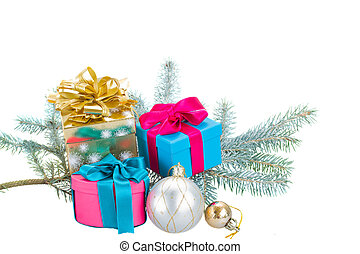 fir tree branch and gift boxes
