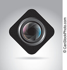 camera lens over gray background, vector illustration