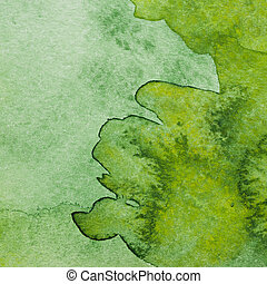 Watercolor texture - Texture from green watercolor stains on...