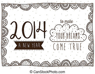 happy new year 2014 over white background vector...