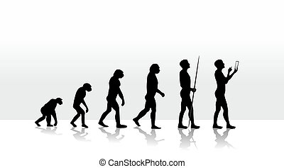evolution2708b - illustration of human evolution and mobile...