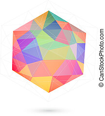 colorful icosahedron for graphic design