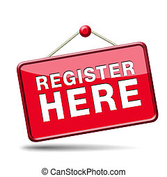 register here sign - register here en no sign or icon....