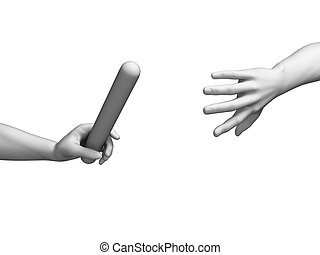 Relay - white hands - 3d rendered illustration of a relay -...