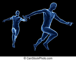Relay - blue bodies - 3d rendered illustration of a relay -...