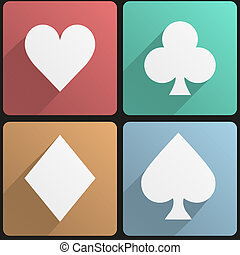 Flat icon set playing cards suit - Basic playing cards suit...
