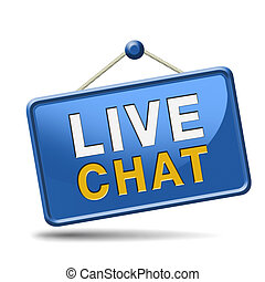 live chat icon Chatting online button Red placard