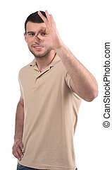 Man gesturing. Smiling young men gesturing while standing...