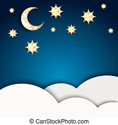 Christmas night. Blue background with golden stars and moon....