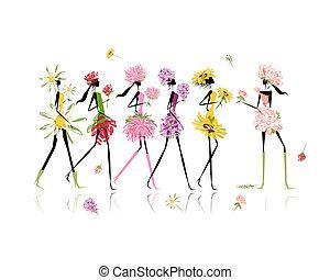 vestido, trajes, niñas, diseño,  floral, fiesta, gallina, su