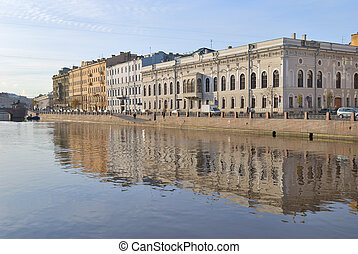 St. Petersburg. Fontanka river Embankment with historic...