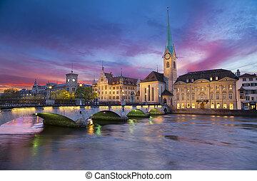 Zurich. - Image of Zurich, capital of Switzerland, during...