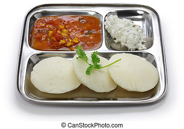 south indian breakfast on stainless - idli, sambar and...