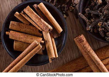 Spices - Assorted spices for food and decoration: cinnamon...