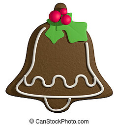 Gingerbread 3D cartoon christmas bell with holly - Cartoon...