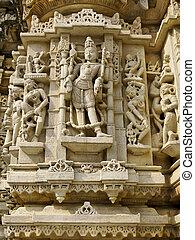 Escultura, Jain, templo, UDIAPUR, India