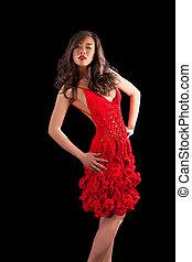 Asian woman in red crochet dress