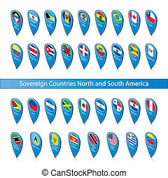 Pin flags of the Sovereign Countries North and South America