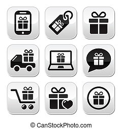 Present, buying online buttons set