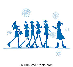 Girls in winter coats for your design