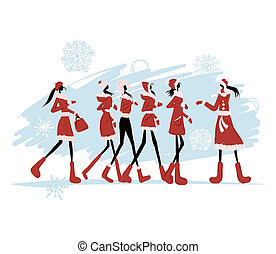 Santa girls for your design