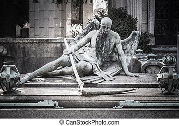 Skrämmande, kyrkogård, staty