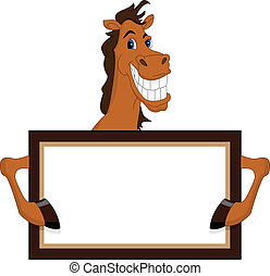 funny horse cartoon with blank sign