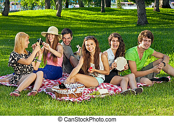 College students enjoying a picnic in the park sitting...