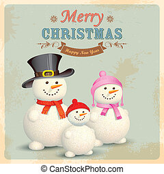 Snowman Family in Retro Christmas Background - illustration...