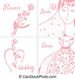 Wedding invitation design elements set