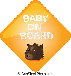 Baby on board horse - Baby on board sticker with horse, sign...