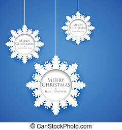 Hanging Snowflakes in Christmas Background